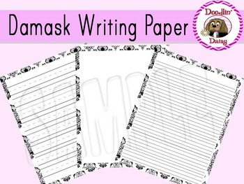 Damask Writing Paper - Black and White