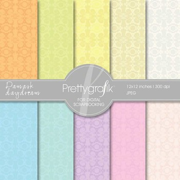 Damask digital paper, commercial use, scrapbook papers, background - PS530