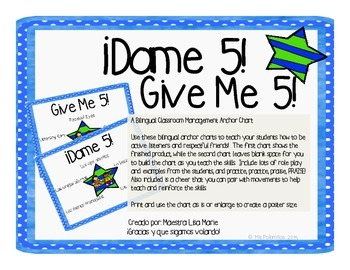 Dame 5 ~ Give Me 5 Bilingual en español and English!