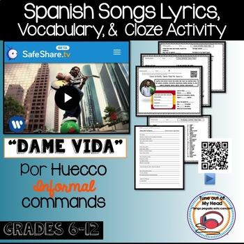 Dame Vida Por Huecco Spanish Song Cloze Activity - Lyrics