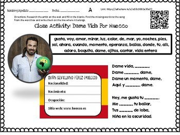 Dame Vida Por Huecco Spanish Song Cloze Activity + Lyrics Informal Verb Commands