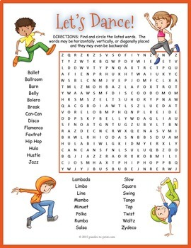 Dance Word Search Worksheet