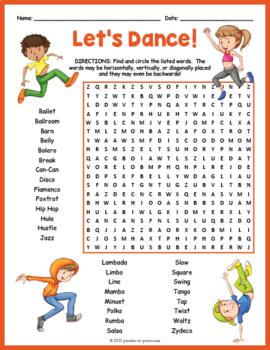 Dance Word Search Worksheet