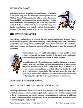 Dance: An Academic Learning Packet
