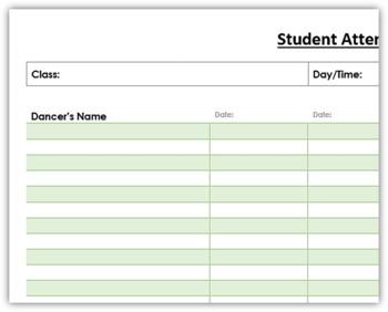 Dance Class Attendance Sheet
