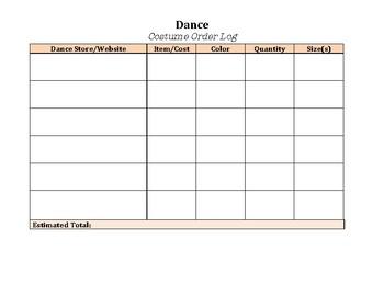 Dance Costume Order Log (For Teachers)