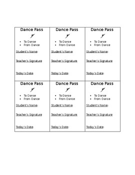 Dance Hall Passes