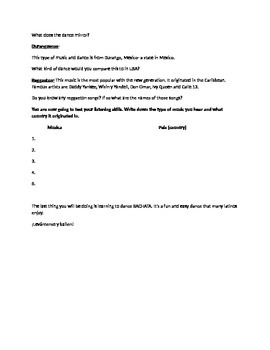 Dance/Music Lesson- Sub Plan