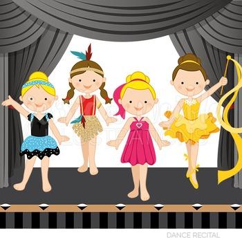 Dance Recital Cute Digital Clipart, Girls Dance Graphics