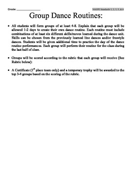 Dance Routine Lesson and Rubric for PE