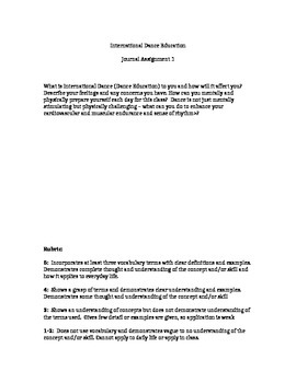 Dance Student Work Packet with FINAL ASSESSMENT