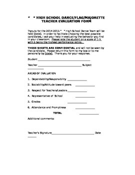 Dance Tryout Teacher Evaluation