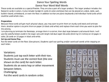 Dance Your Spelling Words! Freebie
