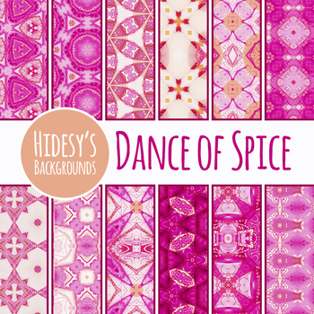 Dance of Spice Kalidoscope Digital Paper in Pink Clip Art Set Commercial Use