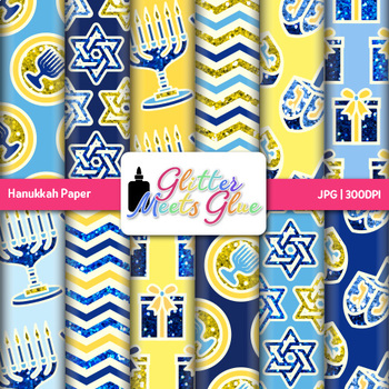 Hanukkah Paper {Scrapbook Backgrounds for Worksheets and Resources}