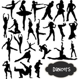 Dancers Silhouettes Clip Art Ballet Ballerina Break Dancin