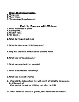 Dances With Wolves Movie Worksheet & Projects