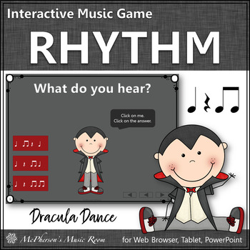 Halloween Music Game ~ Eighth Notes Interactive Rhythm Game {Dracula}