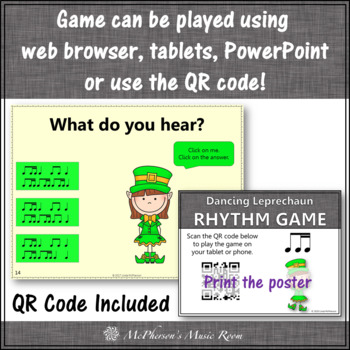 1 Eighth/2 Sixteenth Notes Interactive Rhythm Game {Dancing Leprechaun}