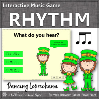 2 Sixteenths/1 Eighth Note Interactive Rhythm Game {Dancing Leprechaun}