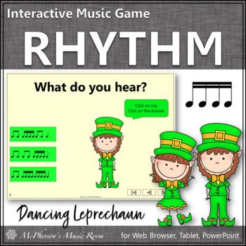 Dancing Leprechaun Sixteenth Notes {Interactive Rhythm Game}