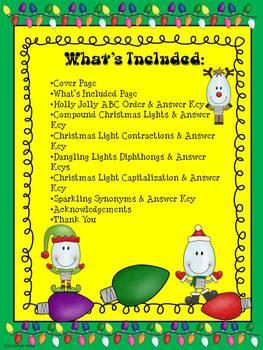 Dancing Lights ELA Holiday Worksheets