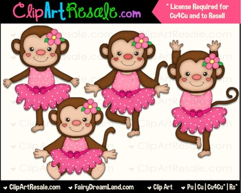 Dancing Monkeys ClipArt Pink - Commercial Use