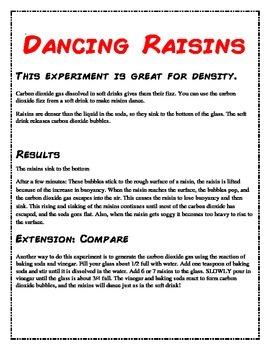 Dancing Raisin Experiment Data Sheet