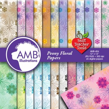 Floral Digital Papers and Backgrounds, Flower Peony Papers, AMB-406