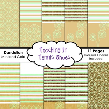 Dandelion Background Mint and Gold BUNDLE