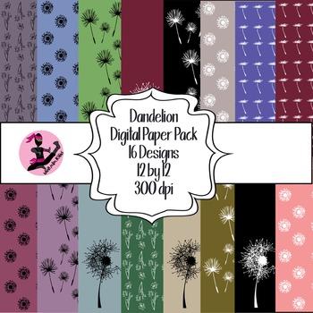 Dandelion Digital Paper- 16 Designs- 12 by 12- 300 dpi
