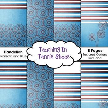 Dandelion Marsala and Blue Background BUNDLE
