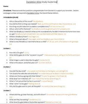 Dandelion Wine Study Guide and Key