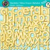 Dandelion Yellow Crayon Alphabet Clip Art {Great for Classroom Decor, Resources}