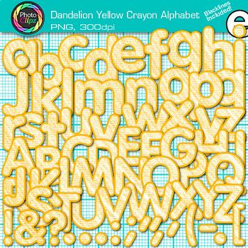 Dandelion Yellow Crayon Alphabet Clip Art {Great for Class