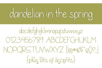 Dandelion in the Spring Font for Commercial Use