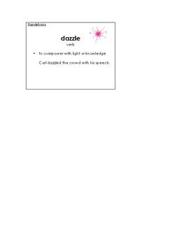 Dandelions Vocabulary