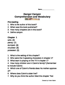 Danger Canyon Comprehension/Vocabulary Packet