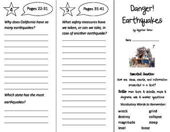 Danger! Earthquakes! Trifold - ReadyGen 2nd Grade Unit 4 Module B