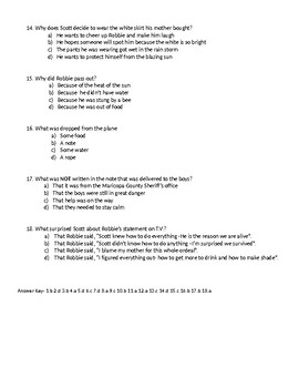 Danger in the Desert by T.S. Fields Multiple Choice Comprehension Quiz
