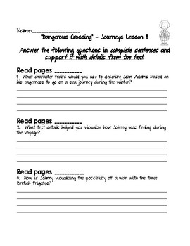 Dangerous Crossing - Journeys Grade 5 Lesson 11 Comprehension Questions