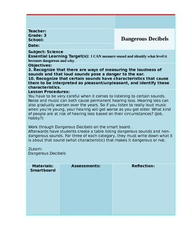 Dangerous Decibels Lesson Plan (Sound)