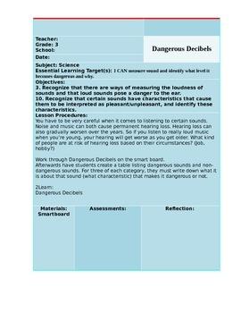 Dangerous Decibels Lesson Plan (Sound)