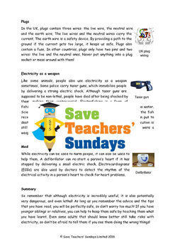 Dangers of Electricity Lesson plan, Text and Worksheets