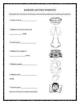 Dangers of Tobacco and Smoking Fill In The Blank and Matching Worksheets