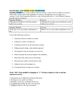 dangling and misplaced modifiers worksheet no key included by jillgee84. Black Bedroom Furniture Sets. Home Design Ideas