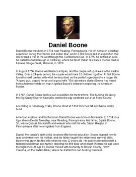 Daniel Boone Article and Assignment