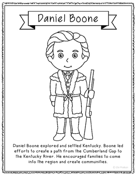 Daniel Boone Coloring Page Activity or Poster with Mini Bi