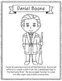 Daniel Boone Coloring Page Craft or Poster with Mini Biography, Kentucky