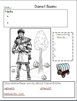 Daniel Boone Graphic Organizer and coloring page